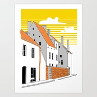 medieval Art Prints featuring Medieval houses by LaDa
