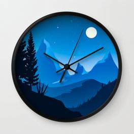 Blue mountains Twilight Wall Clock