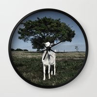 goat Wall Clocks featuring Goat by Ana Francisconi