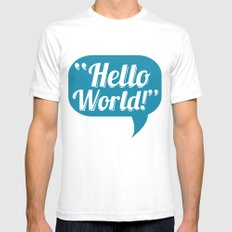 Hello World White Mens Fitted Tee SMALL