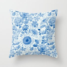 Denim Blue Monochrome Retro Floral Throw Pillow