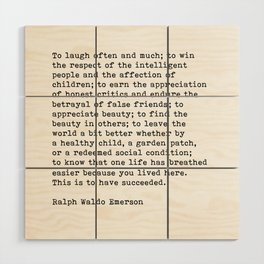 To Laugh Often And Much, Success, Ralph Waldo Emerson Quote. Wood Wall Art