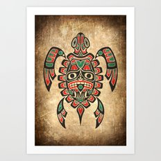 Vintage Red and Green Haida Spirit Sea Turtle Art Print