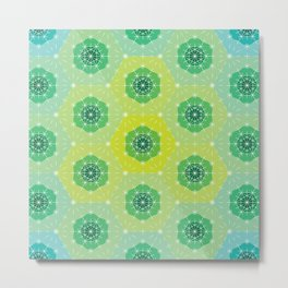 Ombre Dashed Hexagons Pattern Metal Print