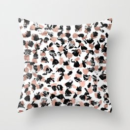 Modern faux rose gold marble brushstrokes dots pattern Throw Pillow