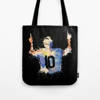 messi Tote Bags featuring Lionel Messi Celebration by DanielBergerDesign