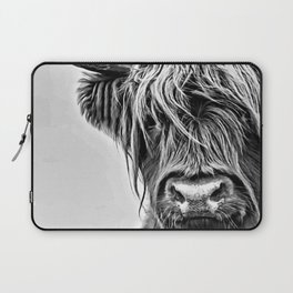 Black and White Highland Cow Laptop Sleeve