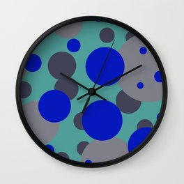 bubbles blue grey turquoise design Wall Clock