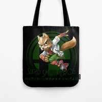 smash bros Tote Bags featuring Fox - Super Smash Bros. by Donkey Inferno
