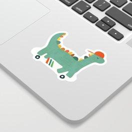 Dinosaur on retro skateboard Sticker