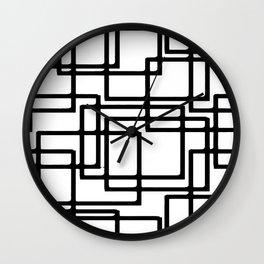 Interlocking Black Squares Artistic Design Wall Clock
