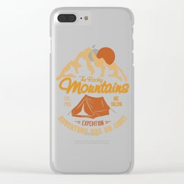 Vintage Retro Rocky Mountains Hiking Camping Gift Clear iPhone Case