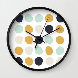 Tinsley - painted dots polka dots minimalist decor nursery gold navy Wall Clock