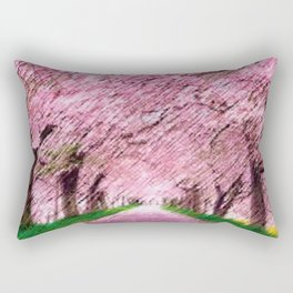 Cherry blossoms on an old New England back road landscape painting by Jéanpaul Ferro Rectangular Pillow
