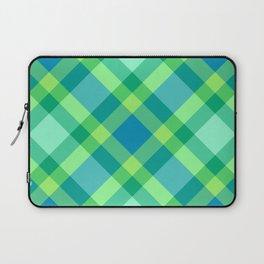 Mid-Century Modern Plaid, Jade Green, Turquoise and Blue Laptop Sleeve