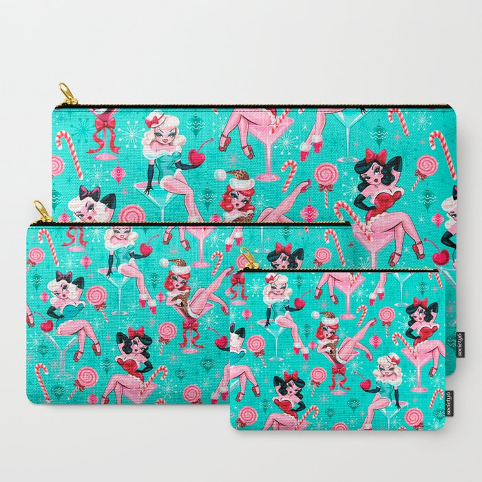 Christmas Candy Martini Pinup Girls Carry-All Pouch
