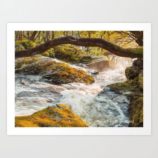 Arklet Falls Scotland Art Print