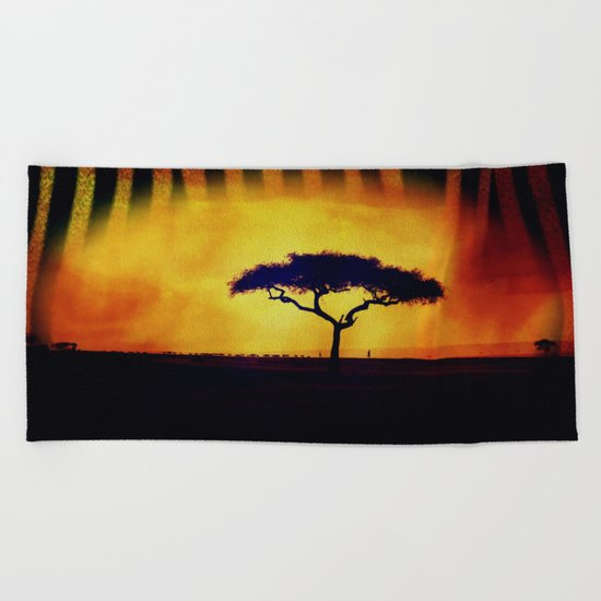 African Farmers Sunset Zebra Beach Towel