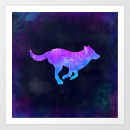 DOG RUNNING IN SPACE // Animal Graphic Art // Watercolor Canvas Painting // Modern Minimal Cute Art Print