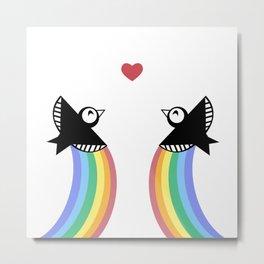 Blackbirds with Rainbows Metal Print