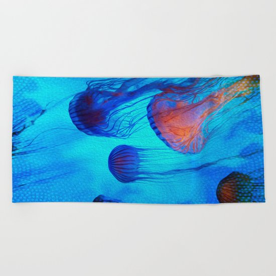 Watch the Flow of the Jelly Glow  Beach Towel