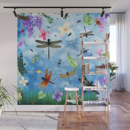 There Be Dragons Whimsical Dragonfly Art Wall Mural