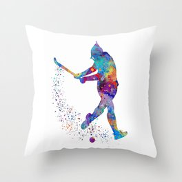 Girl Field Hockey Art Colorful Watercolor Artwork Sports Gift Throw Pillow