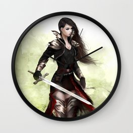 Lady knight - Warrior girl with sword concept art Wall Clock