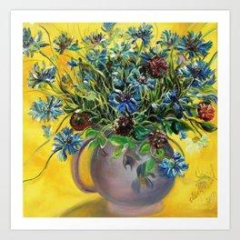 Cornflowers in the violet vase. Art Print