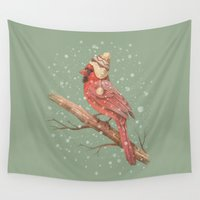 birdy Wall Tapestries featuring First Snow  by Terry Fan