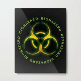Biohazard Zombie Warning Metal Print