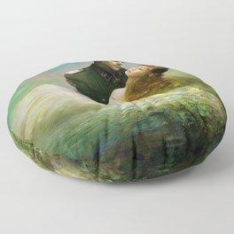 Love me tender - Sad couple in loving embrase in the lake Floor Pillow