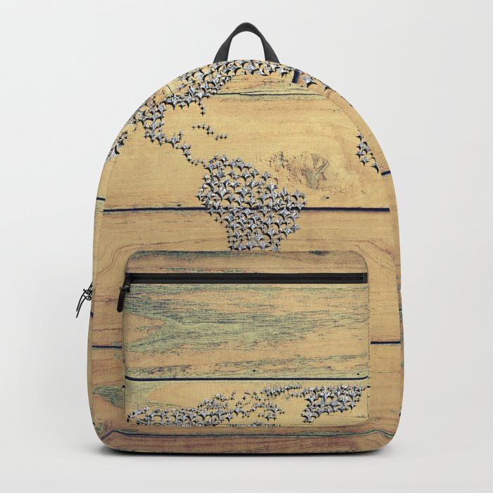 Metallic Foil Map on Oak Backpack