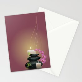 Pebbles with orchid Stationery Cards