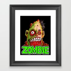 ZOMBIE title with zombie head Framed Art Print