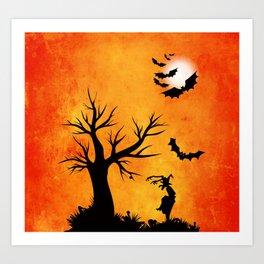 Halloween Bat Night Art Print