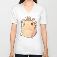 prince V-neck T-shirts featuring Prince Angel of Bunnyland by Mike Koubou