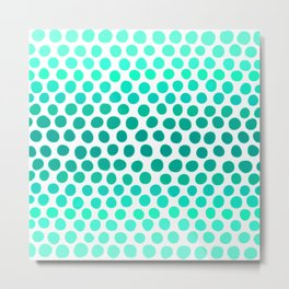 Aqua Blue, Turquoise, and Teal Dots Abstract Metal Print
