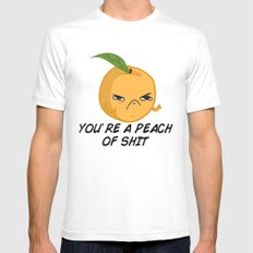 Sour food puns - Youre a Peach of sh*t SMALL Mens Fitted Tee White