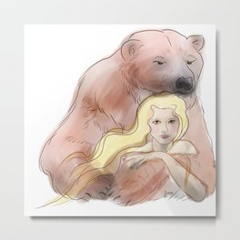 The woman and the polar bear Metal Print
