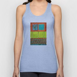 Dreamlike Interior with Yellow Wall Panels Unisex Tank Top