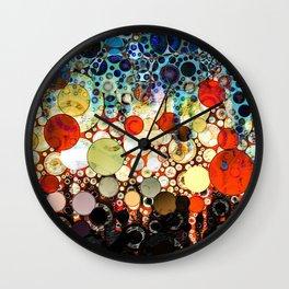 Contemporary Blue Orange Bubble Abstract Wall Clock