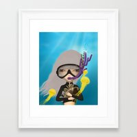 scuba Framed Art Prints featuring scuba by Anne  Martwijit