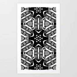 black n white tribal print Art Print