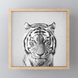 Tiger - Black & White Framed Mini Art Print