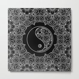 Yin yang symbol in Black and white lace ornament Metal Print