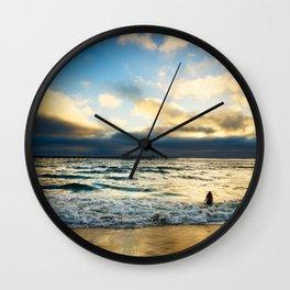 Ocean Beach - Person in Water Wall Clock