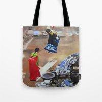 korean Tote Bags featuring Korean Seesaw by Robert S. Lee Art