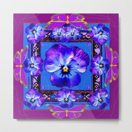 Purple Pansy & Butterflies Melody Abstract Metal Print