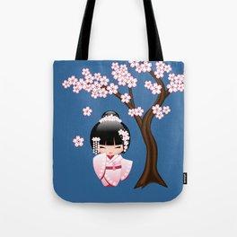 Japanese Bride Kokeshi Doll Tote Bag